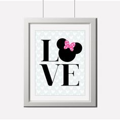 Printed Mickey, Minnie Mouse, Love, Wall Art Printed | partytimedecor - Cards on ArtFire
