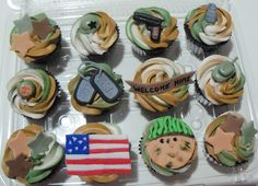 jakes coming home party Military Cupcakes, Patriotic Cupcakes, Military Love, Retirement Parties, Coming Home, House Party, Marines, Party Time, Cupcake Cakes