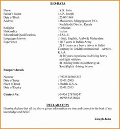 Biodata Format Cover Letter Template Download Free