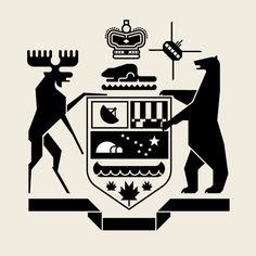 Ontario Roots Crest for Douglas Coupland by Helios inspired by the 1970's versino of the Ontario provincial coat of arms done by Ernsy Barenscher (who coincidentally taught Alex at OCA)