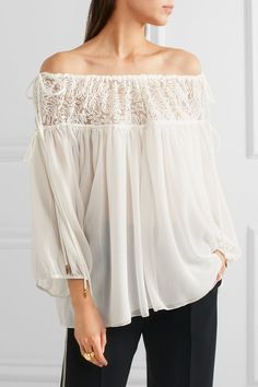 Chloé | Off-the-shoulder embroidered tulle and silk-crepon blouse | NET-A-PORTER.COM
