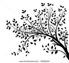 stock vector : tree branches silhouette isolated over white background with lot of leaves, border of a page Oak Tree Silhouette, Black Silhouette, Silhouette Vector, Silhouette Pictures, Tree Decals, Wall Decals, Wall Stickers, Wall Art, Tree Stencil