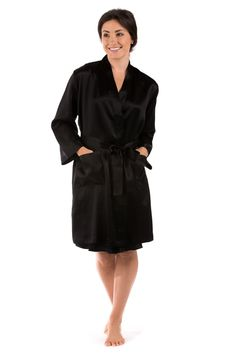 Womens Silk Robe Short Bathrobe