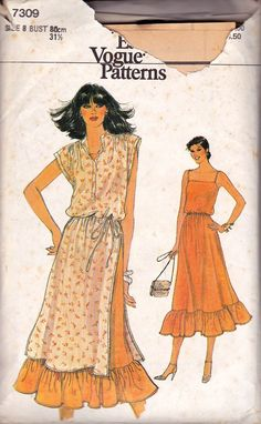Vogue 7309 80s Sundress & Tunic Vintage Sewing Pattern Size 8 Bust 31 1/2 inches