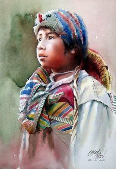 peruvian watercolor paintings | ... peruvian artist peruvian painter portrait paintings watercolor