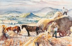 Dame Laura Knight - Gathering Corn 1945