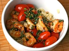 Garlic Shrimp with Basil, Tomatoes, and Pepper Flakes-bet this would be good in a corn tortilla (minus the orzo!)