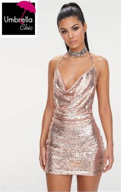 Rose Gold Sequin Chain Choker Mini Dress Rose Gold Sequin Chain Choker Mini DressHave the dress of the season with this sequin must have. Hoco Dresses, Dance Dresses, Club Dresses, Pretty Dresses, Sexy Dresses, Dress Outfits, Fashion Outfits, Formal Dresses, Clubbing Dresses