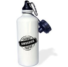 3dRose wb_161682_1 Certified Awesome since 1969funny birthday personal birth year black stampfun humor humorous Sports Water Bottle 21 oz White *** Continue to the product at the image link.