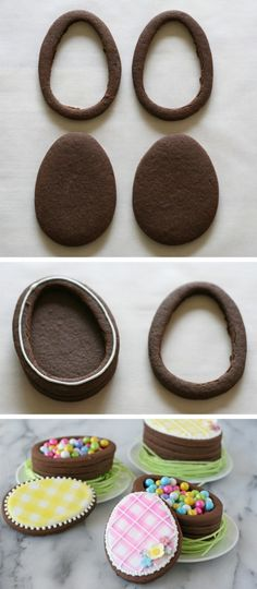 Cookie boxes shaped like chocolate Easter eggs - Easter cakes and baking inspiration - edible gift idea baking Easter Egg Cookie Boxes - Glorious Treats No Egg Cookies, Easter Cookies, Easter Treats, Cookies Et Biscuits, Easter Food, Easter Cake, Easter Baking Ideas, Summer Cookies, Baby Cookies