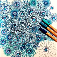 I hoped I could have finished that one today but I need to buy a new pens first as one of them has stopped working.... So here's another work in progress for you. As usually I used stabilo and staedtler pens. Oh and welcome and thanks to all my new followers! :) #mandala #adultcolouring #blue #zendoodle #mandalas #zentangle #adultcoloring #workinprogress #art #drawing #mandalaflower #mandalala #stabilo #staedtler by endofourcomfortzone