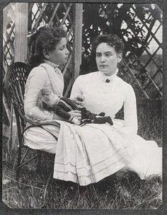 Rare photo of Helen Keller and her teacher, Anne Sullivan.