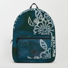 Blue flowers Backpack by seelas D Craft, One Size Fits All, Blue Flowers, Shoulder Straps, Laptop, Handle, Construction, Backpacks, Artists