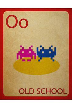 MYNAMEISJZ OLDSCHOOL FLASHCARD POSTER #spaceinvaders #geek