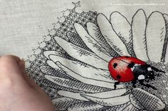 """Ladybug and daisy"" (WIP). Chart: http://www.ajisaipress.com/product/blackwork-cross-stitch-design-ladybug-and-daisy/"