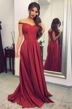 6eb91f8b8fb Satin Off the Shoulder A-line Sweep Train Sashes Sweetheart Burgundy Prom  Dresses PH604