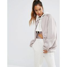 adidas Originals Oversized Bomber Jacket With Side Pockets (€105) ❤ liked on Polyvore featuring outerwear, jackets, beige, oversized bomber jackets, blouson jacket, adidas, zip pocket jacket and zip jacket