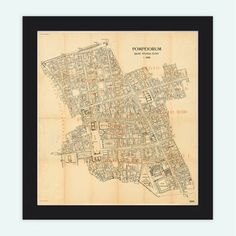Old Map of Pompeii 1909 Naples Antique Vintage Italy