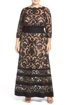 366b6380220 Tadashi Shoji Banded Jersey Sequin Embroidered Lace Blouson Gown (Plus Size)  available at
