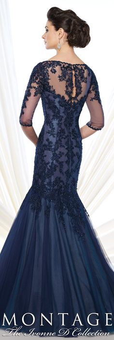 Montage The Ivonne D Collection Fall 2015 - Style No. 215D02 #navyeveninggowns
