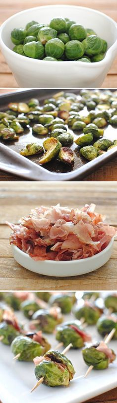 Roasted Brussels Sprouts & Prosciutto Bites --for when I decide to try brussel sprouts! I Love Food, Good Food, Yummy Food, Vegetable Dishes, Vegetable Recipes, Cooking Recipes, Healthy Recipes, Simple Recipes, Appetizer Recipes