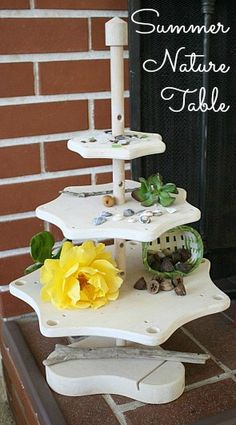 Nature Table from Buggy and Buddy -- I love how this is set up!  It would be a great way to have natural items in my preschool classroom