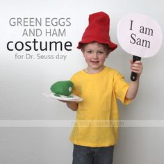 """Sam-I-am"" costume from the book Green Eggs and Ham. Total cost for shirt, hat, and green eggs: $5. Total time invested: 1 hr. Totally worth it"
