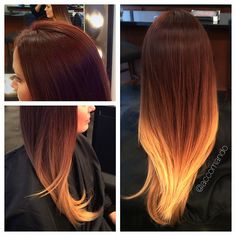 Ombre. High contrast. Deep Auburn to blonde hair. A seamless high contrast ombre done me, Lindsay Accomando at Rock/Paper Beauty Lounge in Roanoke, VA @la1001