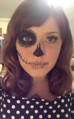 My DIY half sugar skull makeup, and retro waves.
