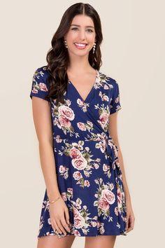 Darla Floral Wrap Dress - navy-cl