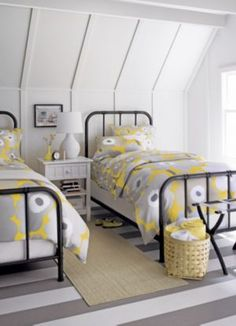 First-rate Attic bedroom too hot,Attic bathroom sims 4 and Attic bedroom furniture. Yellow Bed Linen, Yellow Bedding, Yellow Bedrooms, Modern Bedrooms, Bedding Sets, Slanted Walls, Slanted Ceiling, Grey Room, Attic Rooms