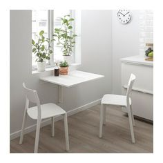 NORBERG Wall-mounted drop-leaf table, white