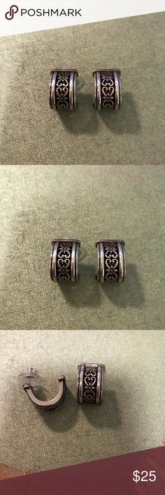 Brighton earrings Brighton earrings with classic pattern. Excellent condition. Matching bracelet is also listed in my store. Brighton Jewelry Earrings