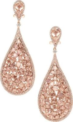 Pink Diamond and Rose Gold Earrings-The earrings feature full cut, pear, marquise, oval, and cushion shaped diamonds ranging in color from fancy light pink, fancy brownish pink to fancy purplish pink, weighing a total of 8.89 carats, accented by full cut diamonds weighing a total of .95 carat, in 18k pink gold by tanisha