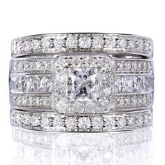Annello 14k White Gold 1 4/5ct TDW Princess-cut Halo Diamond 3-piece Bridal Set (H-I, I1-I2) - Overstock™ Shopping - Top Rated Annello Bridal Sets