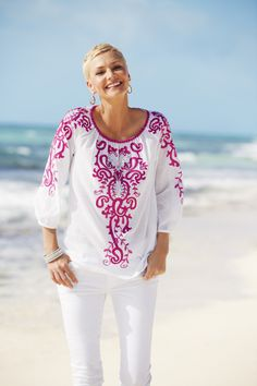 What makes our tunics so spirited? Artisan touches, wordly details, & signature prints you won't find anywhere else. #chicos