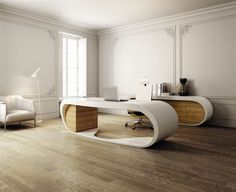 Office U0026 Workspace, Modern Office Interior Furniture Set With Laminate  Flooring And White Wall Design With White Armchair And White Floor Lamp And  Swivel ...