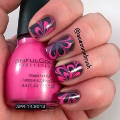 Pink and Black Watermarble with Sinful Colors Sugar Spice and Sally Hansen Black Out