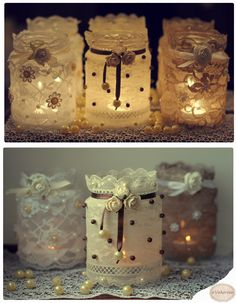 Lace and pearl upcycled jars Easy Diy Crafts, Diy Arts And Crafts, Jar Crafts, Bottle Crafts, Mason Jar Gifts, Mason Jar Candles, Lace Jars, Lace Wedding Decorations, Mason Jar Projects