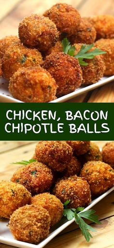 Chicken, Bacon Chipotle Balls - The ingredients and how to make it please visit the website Recipes Using Cooked Chicken, Cheap Chicken Recipes, Easy Chicken Dinner Recipes, How To Cook Chicken, Appetizer Recipes, Dessert Recipes, Appetizers, Broccoli Recipes, Rice Recipes