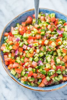 Salad recipes 456904324696685830 - Israeli Salad is a must make Middle Eastern Recipe that is full of flavor! This salad is also known as Shirazi Salad (Persian Cucumber and Tomato Salad). Israeli Salad Recipe is a staple in our home. Cucumber Recipes, Summer Salad Recipes, Healthy Salad Recipes, Summer Salads, Diet Recipes, Vegetarian Recipes, Cooking Recipes, Cucumber Tomato Salad, Avocado Salad