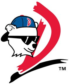 Daytona Cubs Primary Logo (1993) - A white bear cub wearing sunglasses and a backwards cap next to a red D