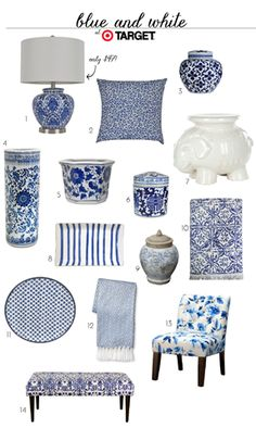 Blue and White Finds At Target (accessories home decor jars bench lamp pillow) accessories Blue Rooms, White Rooms, Home Decor Accessories, Decorative Accessories, Decorative Accents, Blue And White Living Room, Blue Living Room Decor, Blue And White China, Blue And White Lamp