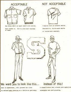 """The St. Ignatius dress code in the 1960s. By the time I got there in the 80s, """"not acceptable"""" was finally accepted. Whew."""