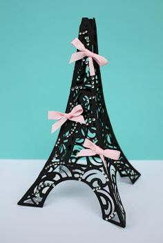 DIY - 3D Eiffel Tower with Crystals & Bows  Cricut Cartridge Used:  Summer in Paris cartridge at 8.5""