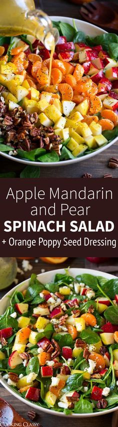Apple Mandarin Orange Pear and Feta Spinach Salad with Orange Poppy Seed Dressing - Cooking Classy