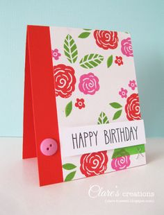 Cheery florals using hand-carved stamps, sentiment from Lawn Fawn.