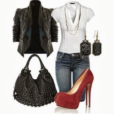 Casual Ladies Outfit With Red High Heels,Jeans,Black Handbag And Upper Click the picture to see more