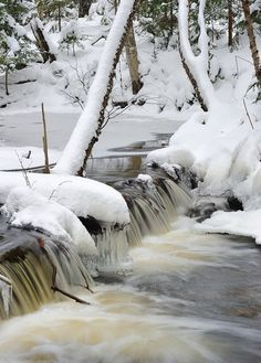 Winter on the Mosquito River, Pictured Rocks National Lakeshore by Michigan Nut, via Flickr; Michigan Upper Peninsula