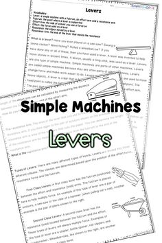 Simple Machines Pulley Nonfiction Article and Hands on